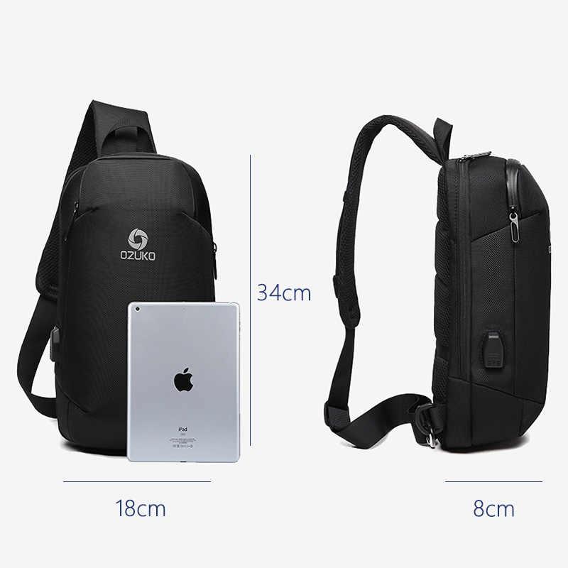 Ozuko Baru Pria Anti Pencurian Tas Selempang Fashion Pria 9.7 Inci iPad Bahu Messenger Casing USB Pengisian Tahan Air Sling Dada tas