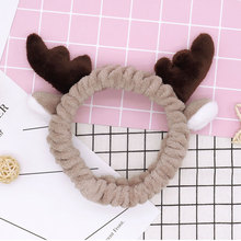 Drop Shipping Funny Animal Hair Accessories Cute Antlers Headbands For Wash Face Makecup Bands Women Soft Flannel Hairbands