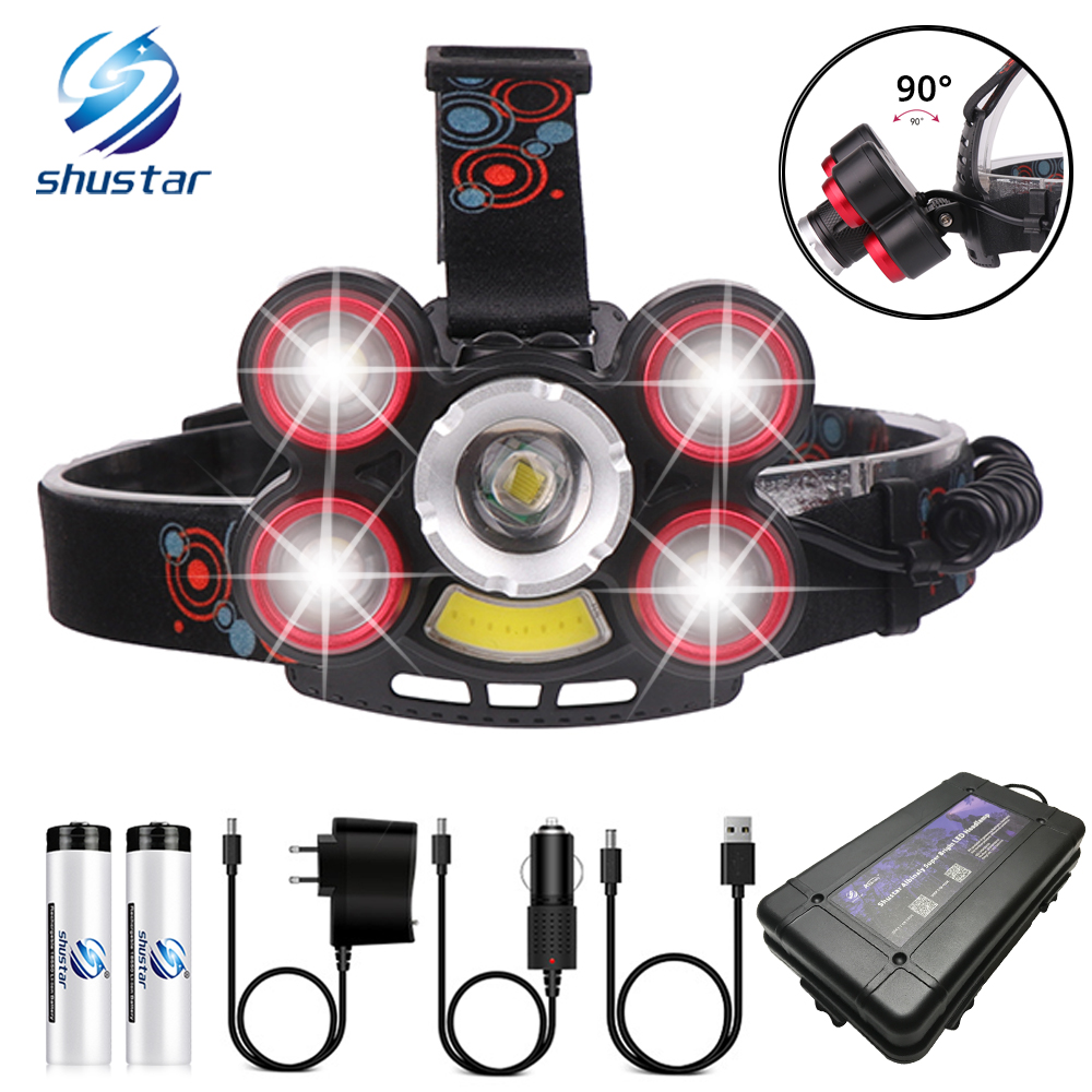 Super Bright LED Headlamp With 1T6 + 4XPE + COB Led Lamp Bead Zoomable Headlight 5 Switch Modes For Fishing, Adventure, Etc.