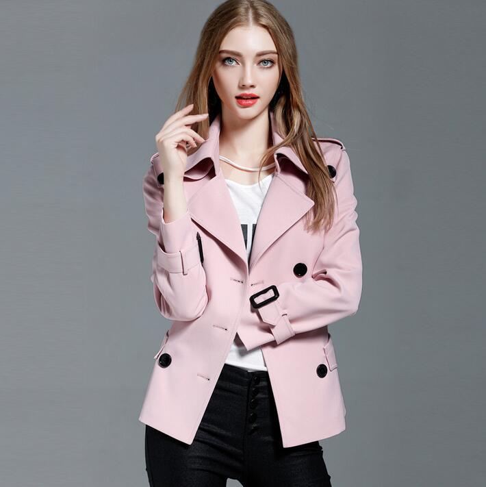 En Automne 2018 Mince Manteaux Trench Survêtement rose noir Et Femme Printemps Beige Manches Femmes Ceinture Couleur Longues Solide Tranchée Élégant 1 À Courte SxwFY00