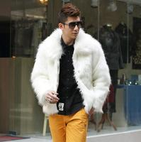 2017 Autumn And Winter Thicken Thermal Leather Jacket Men Casual Mens Fur Coats Overcoat Black White