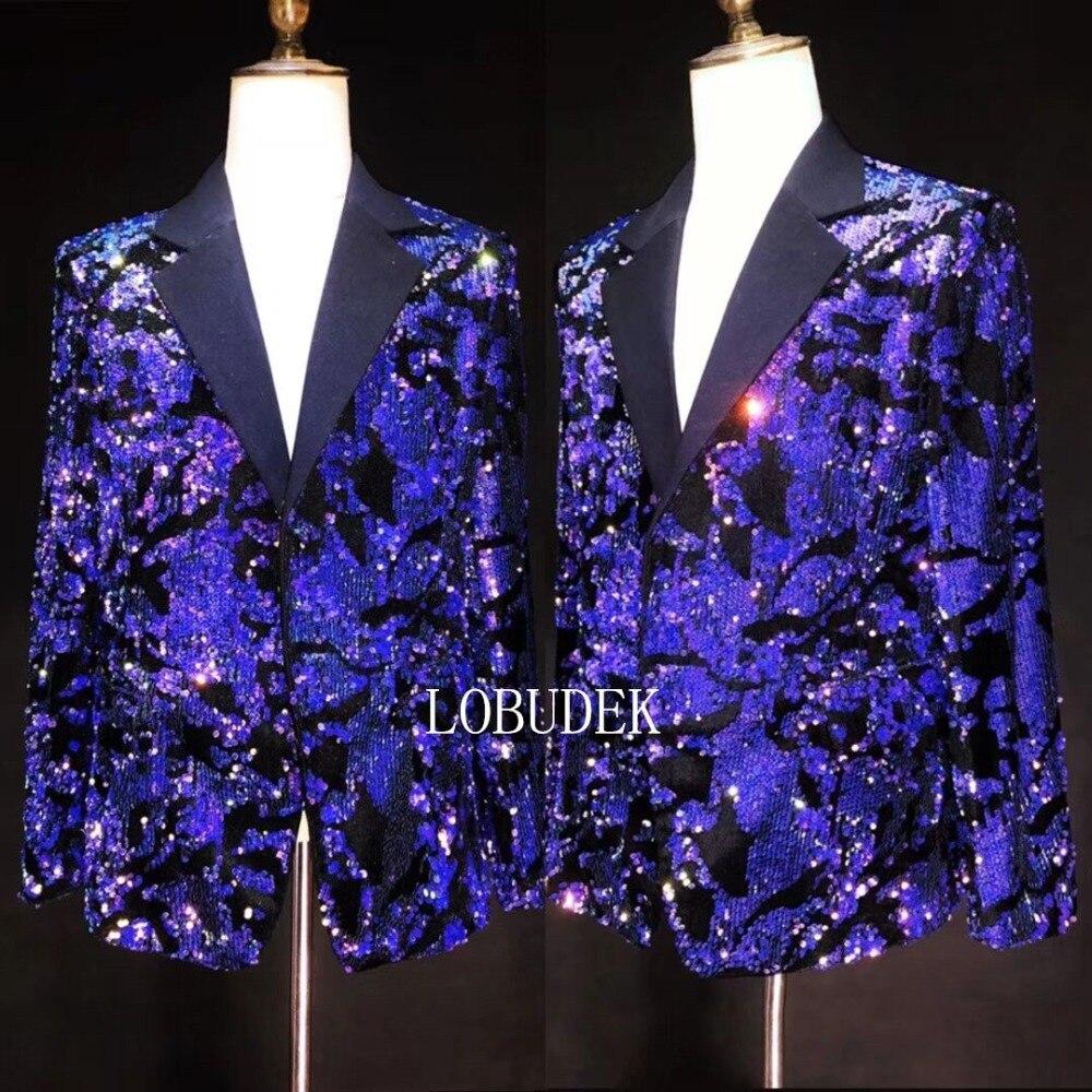 Brillant bleu violet paillettes veste hommes Costume vestes mode Slim Blazers manteau mâle chanteur discothèque vêtements hôte spectacle Costume - 2