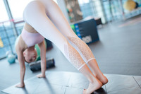 Free Shipping Women Yoga Capris Summer Sexy Lace Bottom Solic Crop Size S L