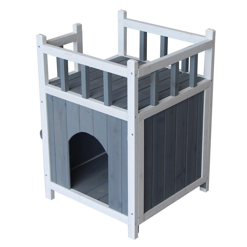Cage en bois pour animaux de compagnie maison de chat avec balcon petit chenil pour chien SKU45162512Cage en bois pour animaux de compagnie maison de chat avec balcon petit chenil pour chien SKU45162512
