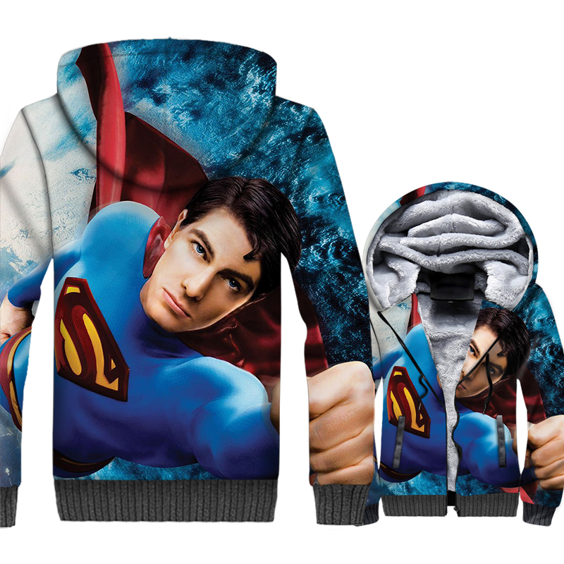 new Superman Super hero jackets men thicken warm wool liner brand tracksuits fashion 3D prints hooded sweatshirt 2019 plus coats