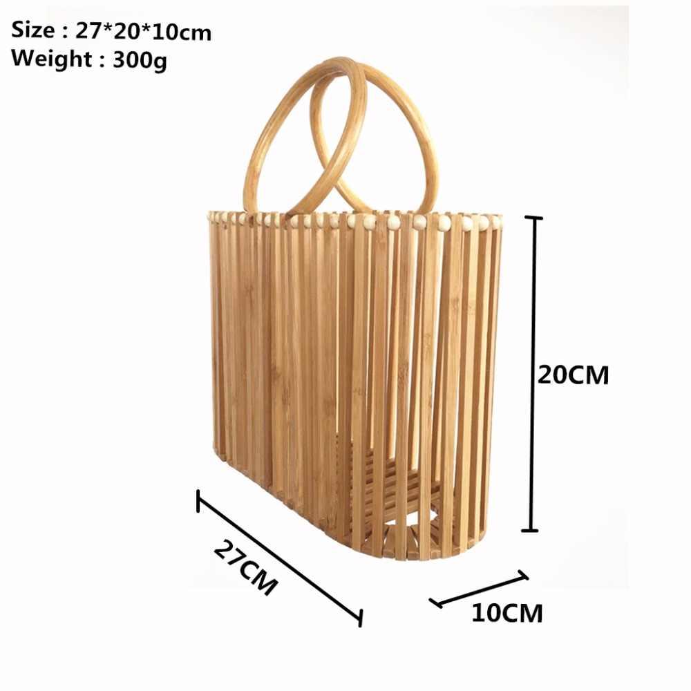 Дамские сумочки из бамбука для женщин 2020, летние пляжные открытые сумки с круглой ручкой из ротанга ручной работы, Женская роскошная дизайнерская деревянная Сумка-тоут