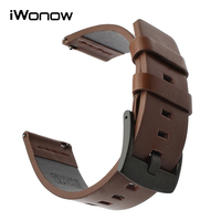 20mm Italy Oil Leather Watchband For Pebble Time Round 20mm Men Huawei Watch 2 Sport Ticwatch