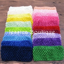 30pcs girls Elastic Crochet Headband Handmade Hair band Bow Winter Headbands Girls Jersey knit Headwraps Para Cabelo
