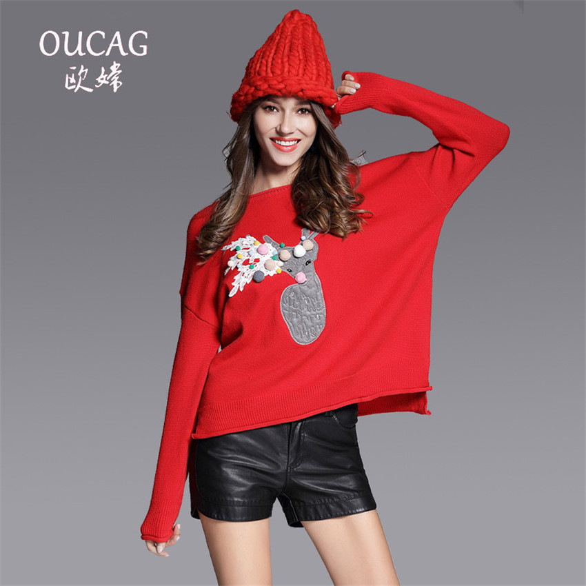 OUCAG New Christmas Deer Embroidery Sweater Women Fashion Appliques Spliced Lace Female Top O-Neck Cotton Loose Red Pullover
