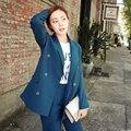 2016 Moda Mulheres Escritório Desgaste do Negócio Fino Elegante OL Conjunto Formal Blazer Jaqueta + Calça Terno Feminino Feminino