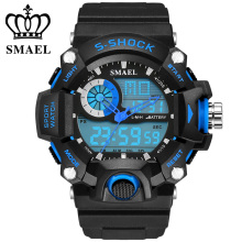 SMAEL Digital Men Sports Watch S-Shock Military Watches LED Quartz Dual Display Outdoor Waterproof Men watches Reloj Hombre