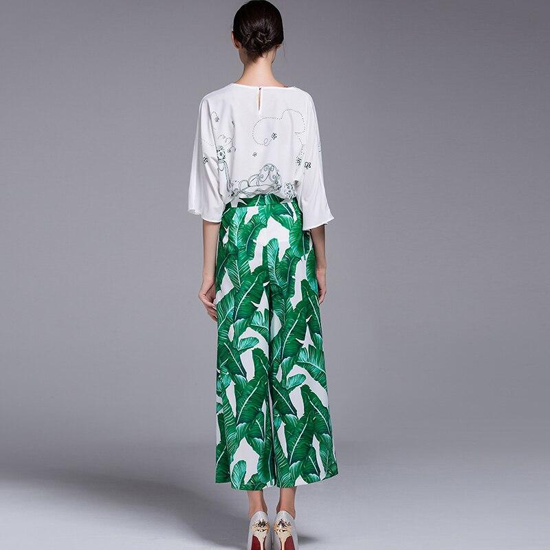 2017 сезон: весна–лето женские знаменитости Ретро Винтаж Высокая талия взлетно посадочной полосы моды зеленый лист печати Широкие брюки - 3