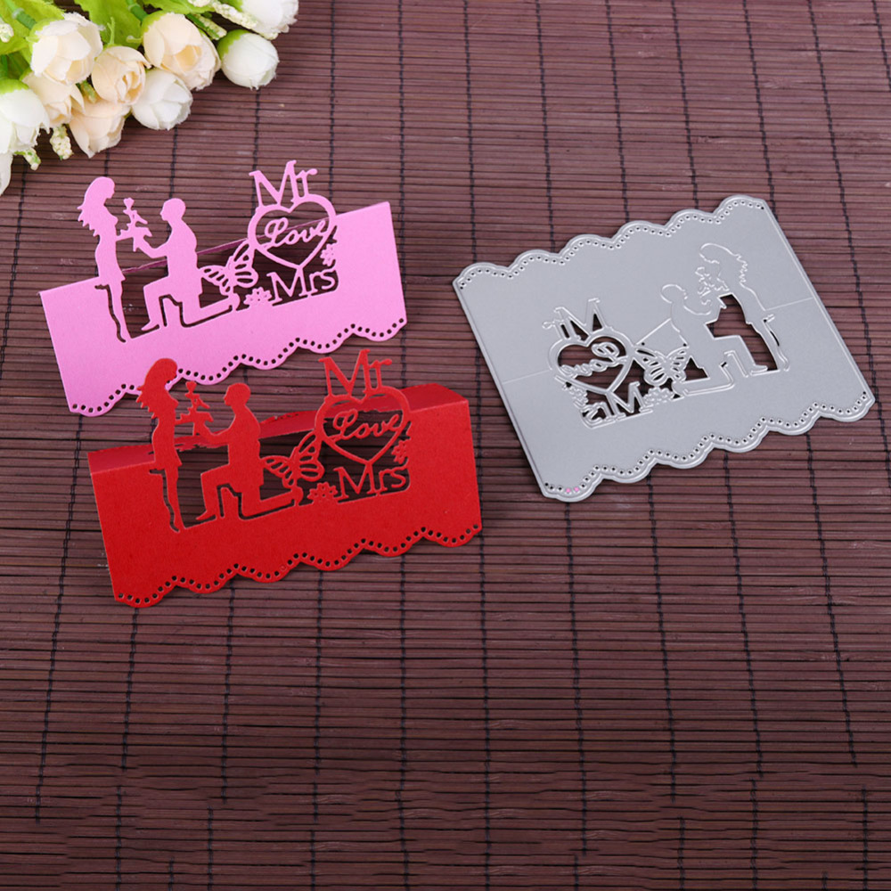 Love Couple Wedding Invitation Card Metal Cutting Dies Stencil DIY ...