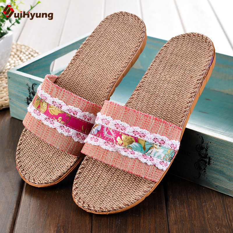 Suihyung Summer New Women Slippers Comfortable Breathable Linen Home Slippers Thick Non-slip Indoor Slippers Beach Slippers coolsa women s summer flat cross belt linen slippers breathable indoor slippers women s multi colors non slip beach flip flops