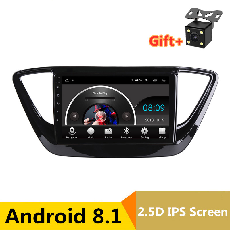 "9"" 2.5D IPS Android 8.1 Car DVD Multimedia Player GPS For Hyundai Verna Solaris 2017 2018 audio car radio stereo navigation"