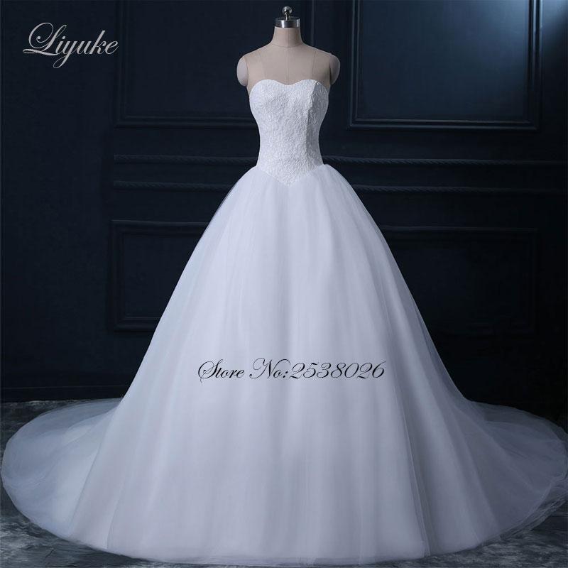 Liyuke Marvelous Lace Sayang Leher Pinggang Alami A-Line Gaun Pengantin Renda Gaun Pengantin Vestido De Noiva Chapel Kereta