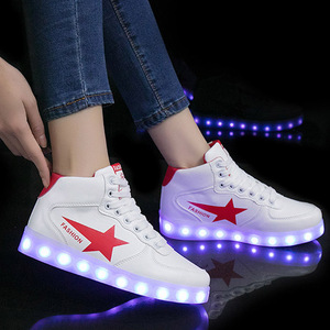 Image 5 - Size 35 44 High Top LED Shoes USB Charging Light up Shoes for Men&Women PU Leather Luminous Glowing Shoe Krasovki with Backlight