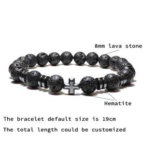 Image 4 - Noter Natuurlijke Vulkanische Lava Armband Femme Homme Zwart 3 Stijlen Cross Braslet Yoga Gebed Sieraden Hematiet Armband Bileklik