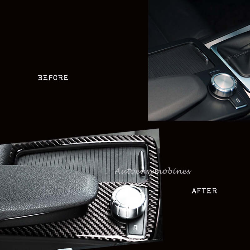 1PCS New Styling Car Styling For Mercedes Benz C class W204 Inner Center Console Gear Shift Box Sequin Water Cup Holder Frame in Interior Mouldings from Automobiles Motorcycles