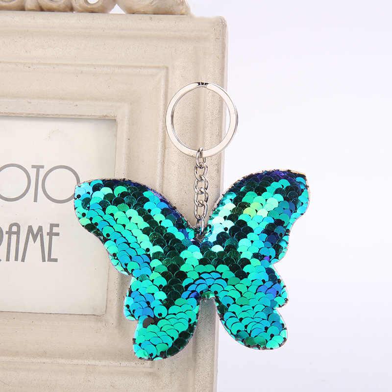 Chaveiro bonito da borboleta glitter pompom lantejoulas chaveiro presentes para as mulheres llaveros mujer acessórios do carro chaveiro chaveiro