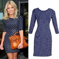 2016 HOT S M L XL XXL Blue color Polka Dot Dress Women casual half sleeve O Neck Evening Party Pencil mini Dress plus size