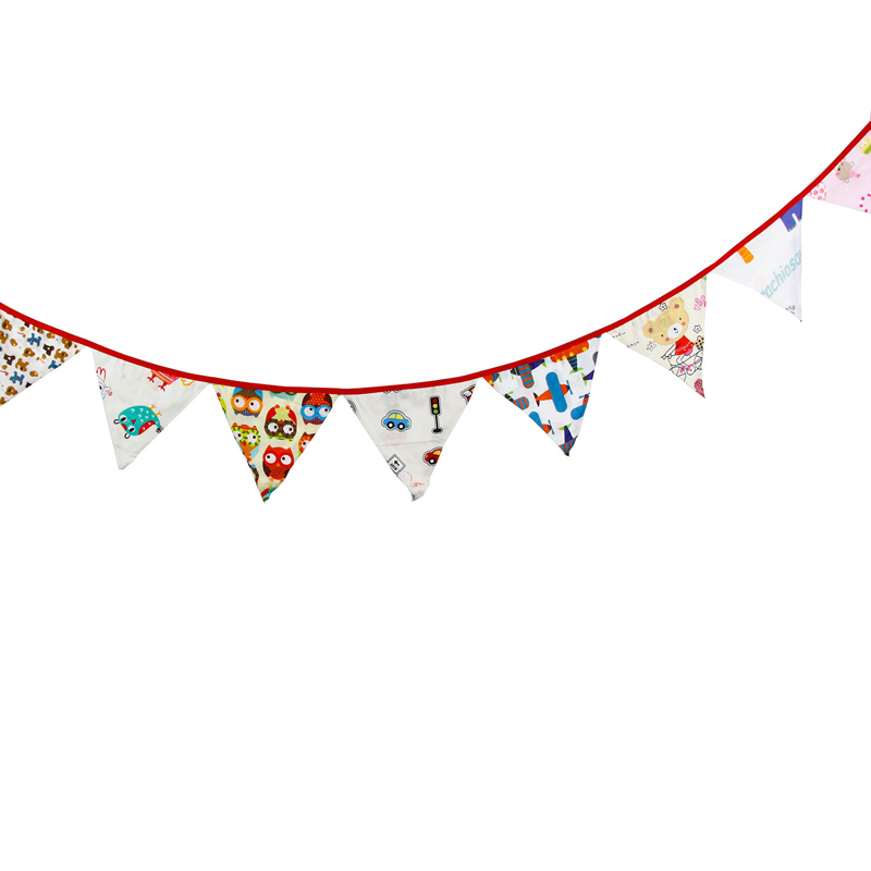3.2m 12 Flags Colorful Cartoon Cotton Banner Pennant Garland Kids Room Baby Shower Birthday Bunting Party Decor Festival Gift