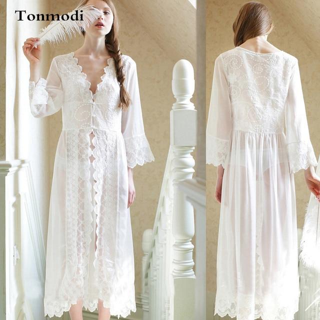5f08c737fe2e Royal French White Lace Nightgown Bride Sexy Princess Sleepwear Maternity  Long white Nightdress