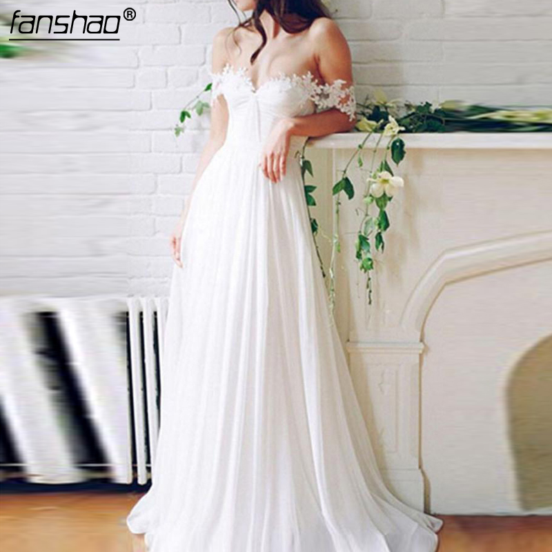 Sexy Long Appliques Bridal Gown Off The Shoulder Chiffon A-Line Wedding Dress  Bridal Dresses