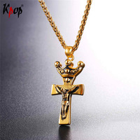 Kpop Stainless Steel Gold/Black Color Jesus Crown Cross Pendents With Chain Necklace Christian Jewelry Wholesale Necklaces P2645