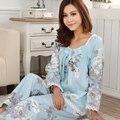 2017 Moda Floral Mulheres Pijama Em Torno Do Pescoço Pijamas Doce Real das Mulheres Tecido de Algodão Completo Manga Set Lounge Frete Grátis