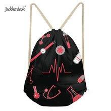 Jackherelook Nurse Heartbeat Women Mini Drawstring Bag Travel Ladies Yoga Gym Backpack Travel Cinch Sack Girls