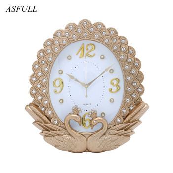 Yaratıcı Yeni Ev Dekor Avrupa Saat Timepiece Kuğu Elmas Boyama