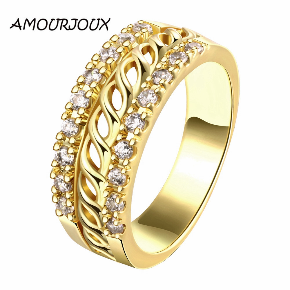Braided Pattern Rose Gold Color Zircon Rings For Women High Quality  Antiallergic Wedding Engagement Ring Christmas