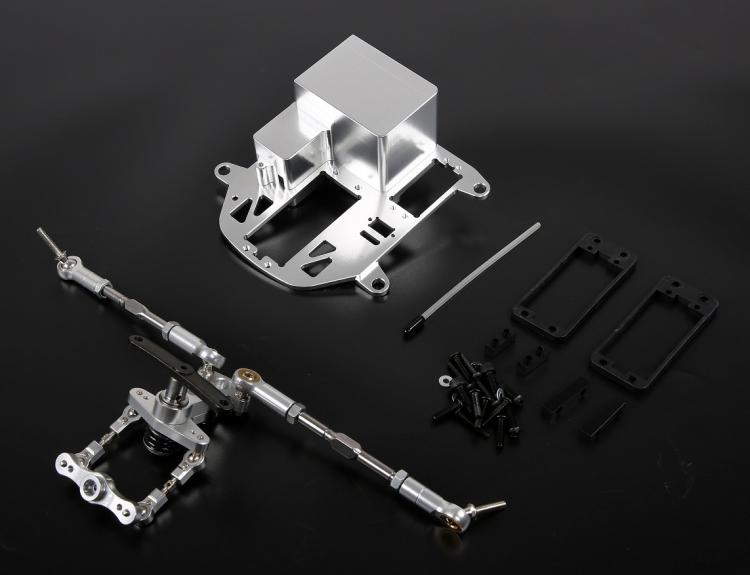 CNC Legering Symmetrische Steering Systeem met Metalen Batterij Case kit voor 1/5 HPI Rovan KM Baja 5B 5 t 5SC rc Onderdelen Upgrade - 4
