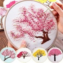 DIY Embroidery Plants Cherry Tree Handwork Needlework for Beginner Cross Stitch kit Ribbon Painting Embroidery Hoop Home Decor(China)