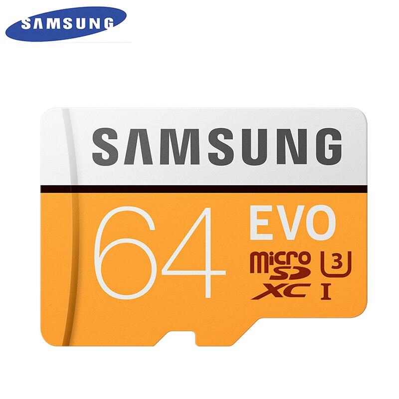 SAMSUNG Original Novo EVO 64 GB U3 Class10 Micro SD Cartão de Memória TF/SD Cards C10 R100MB/S apoio MicroSD XC UHS-1 4 K UItra HD