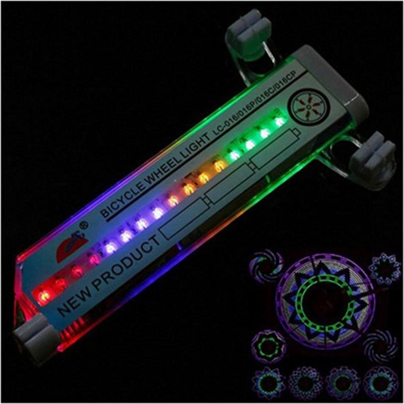 Hot výprodej Cyklistika Bicycle Tyre Valve 16 Led Flash Spoke Wheel Light 30 druhů flash Bike Wheel Spoke Light
