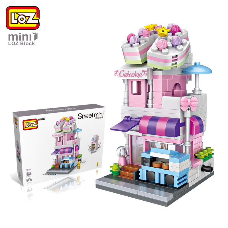 LOZ Street Mini Block Building Blocks Architecture DIY Toy Cake Shop Figure for Kids Intelligence Educational Toys for Girls Boy loz mini diamond building block world famous architecture nanoblock easter island moai portrait stone model educational toys