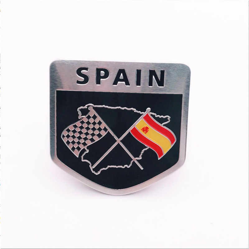 5pcs/lot Aluminum Allloy Shield Spain Sweden Japan Germany Flags Emblem Decal National Symbol Badge Car Trunk Sticker 5x5cm