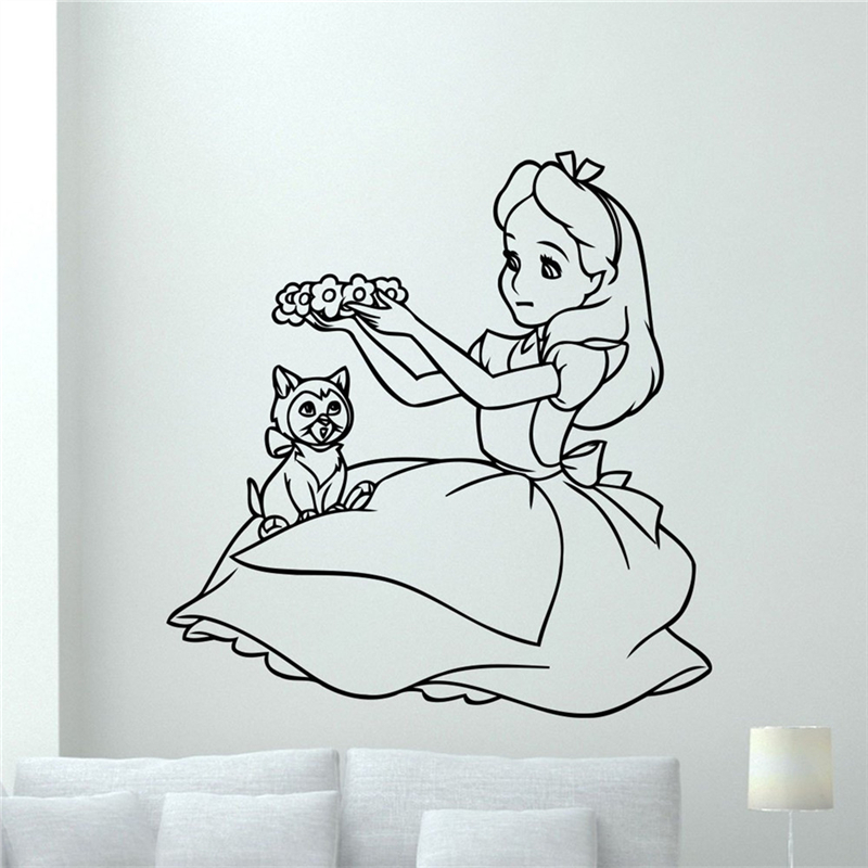 Alice In Wonderland Wall Art alice in wonderland wall decal vinyl sticker cartoon wall art