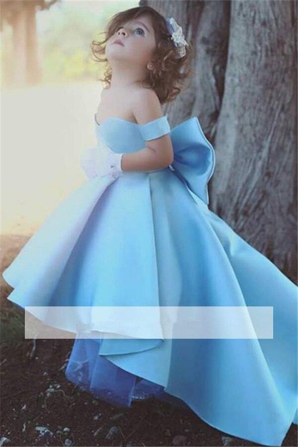 Blue 2019 Flower Girl Dresses For Weddings Ball Gown Off The Shoulder Satin Bow Long First Communion Dresses For Little Girls