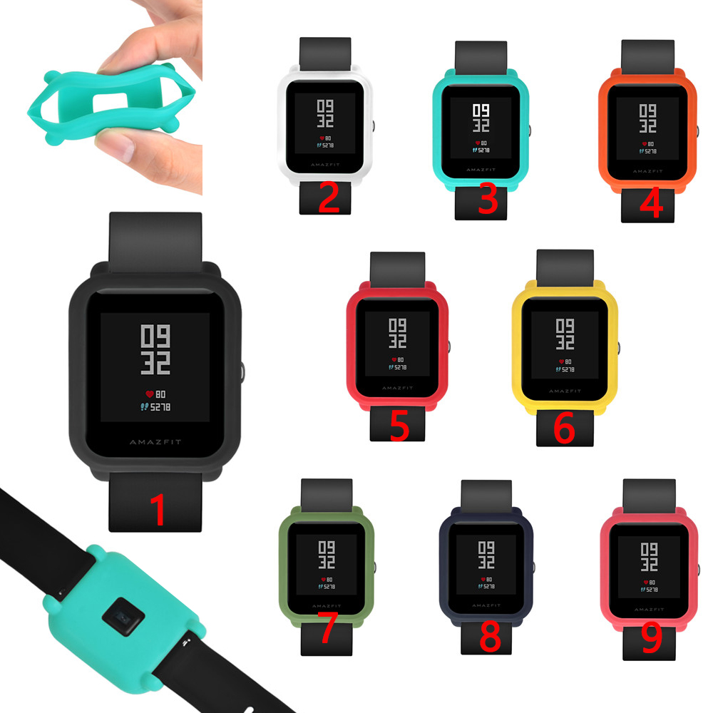 Silicone Watch Case for Xiaomi Huami Amazfit Bip BIT PACE Lite Youth Colorful Replacement Full Protective Cover for amazfit bip mijobs 20mm silicone wrist strap protective case cover plastic pc shell for huami xiaomi amazfit bip bit pace lite smart watch