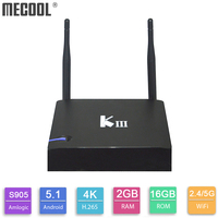 Original Mecool KIII TV Box Amlogic S905 Android TV Box 2GB DDR3 16GB Quad Core 64bit Media Player 4K 3D Bluetooth 4.0 2.4G/5G