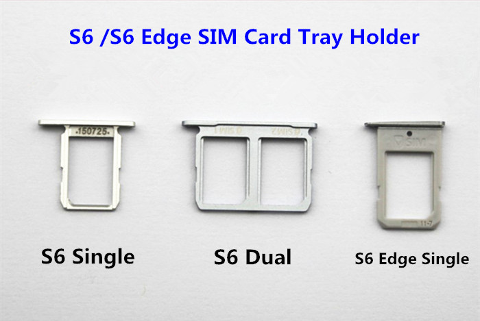 Single/<font><b>Dual</b></font> <font><b>Sim</b></font> <font><b>Card</b></font> Tray For Samsung Galaxy S6 Edge G920 G925 <font><b>Sim</b></font> <font><b>Card</b></font> Holder Slot Replacement Part Black/Gold/Silver image