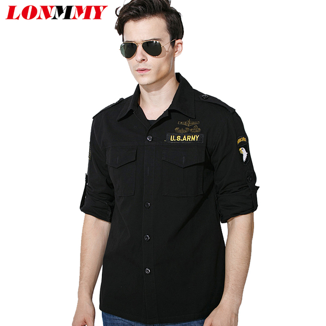 f38741095ce36 LONMMY Military style mens shirts Army green Black Long sleeve men casual  shirt Slim Cotton Dress shirt men Camisa 3XL 2018 New