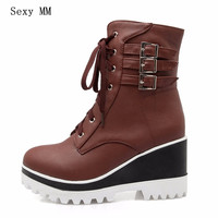 High Quality Spring Autumn Woman Platform Wedges Ankle Boots High Heels Women Casual Shoes Short Boots