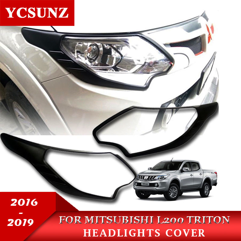 2019 ABS Car Strips Trim For Mitsubishi L200 Triton Pick Up Accessories Matte Black Headlamp Cover For Mitsubishi L200 Triton