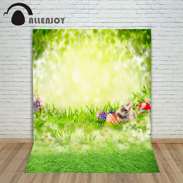 Allenjoy Easter Background Eggs Spring Grass Rabbits Blooms Real Flowers Photo Photography Backdrops
