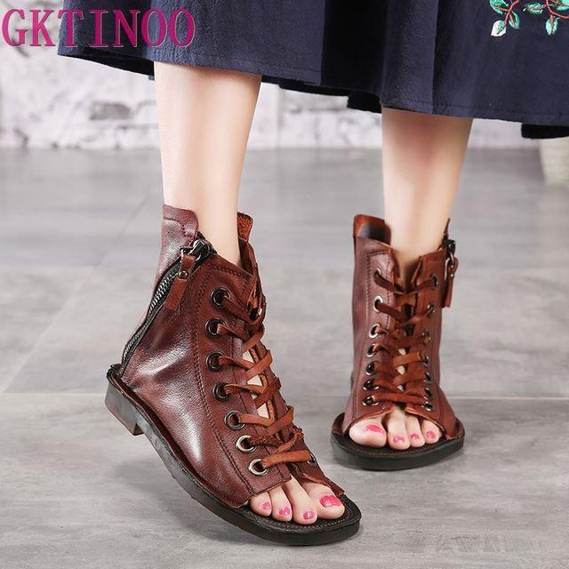 GKTINOO/женские ботинки из натуральной кожи, сандалии, летняя обувь, коллекция 2019 года, модные сандалии на шнуровке с открытым носком, ботинки из мягкой кожи в римском стиле