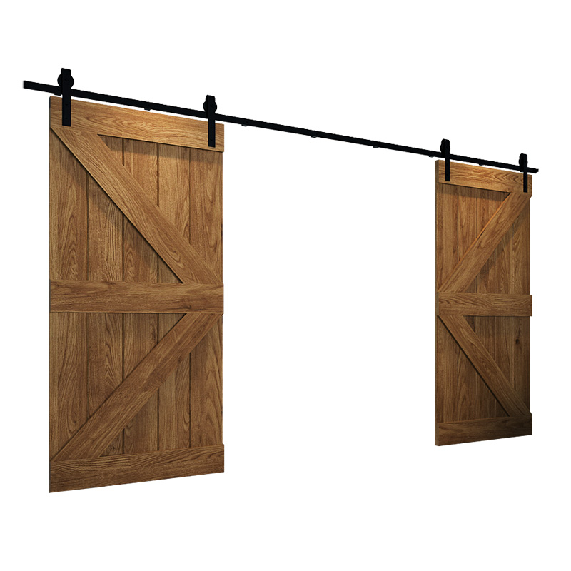 244cm-400cm Bent Straight Black Double Sliding Darn Door Track Hardware Hang 2 Door Kit Track System